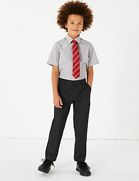 Boys' Plus Fit Slim Leg Trousers, BLACK, catlanding