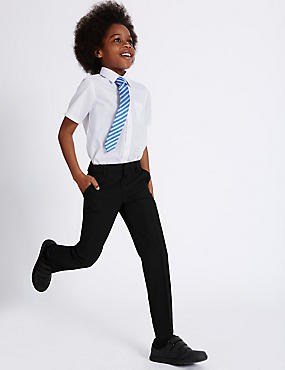 Boys' Slim Fit Slim Leg Trousers, BLACK, catlanding