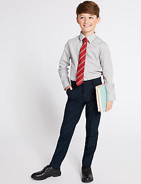 Boys' Slim Fit Skinny Leg Trousers, NAVY, catlanding