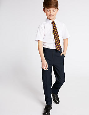 Boys' Longer Length Slim Leg Trousers, NAVY, catlanding