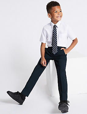 Boys' Longer Length Supercrease™ Trousers, NAVY, catlanding