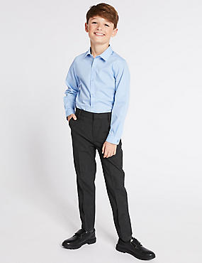 Boys' Longer Length Supercrease™ Trousers, GREY, catlanding