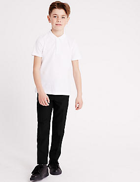 Boys' Longer Length Skinny Leg Trousers, BLACK, catlanding