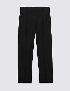 Senior Boys' PLUS Fit Slim Leg Trousers, BLACK, catlanding