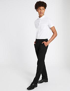 Senior Boys' Longer length Slim leg Trousers, BLACK, catlanding