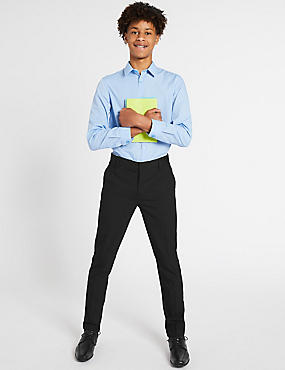 Senior Boys' Longer Super Skinny leg Trousers, BLACK, catlanding