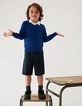 2 Pack Boys' Slim Leg Shorts, NAVY, catlanding