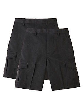 2 Pack Boys' Adjustable Waist Cargo Shorts with Crease Resistant & Triple Action Stormwear™