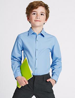 2 Pack Boys' Slim Fit Non-Iron Shirts, BLUE, catlanding