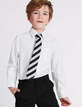 2 Pack Boys' Pure Cotton Non-Iron Shirts, WHITE, catlanding