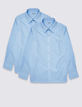 2 Pack Boys' Ultimate Non-Iron Long Sleeve Shirts with Stain Away™