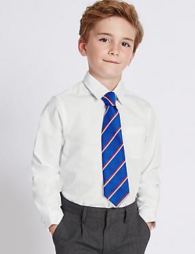 2 Pack Boys' Slim Fit Pure Cotton Shirts, WHITE, catlanding
