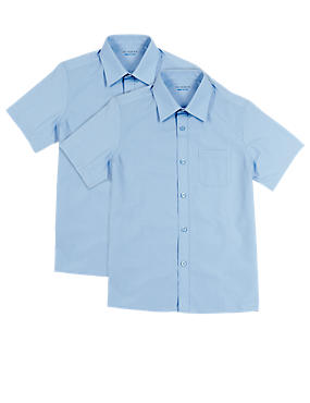 2 Pack Boys' Easy to Iron Short Sleeve Shirts