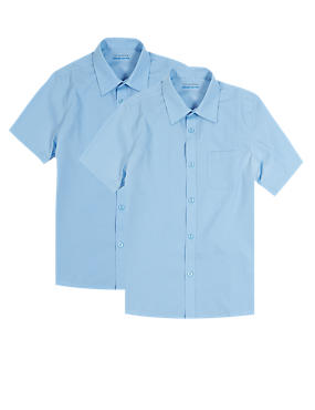 2 Pack Boys' Ultimate Non-Iron Short Sleeve Shirts with Stain Away™