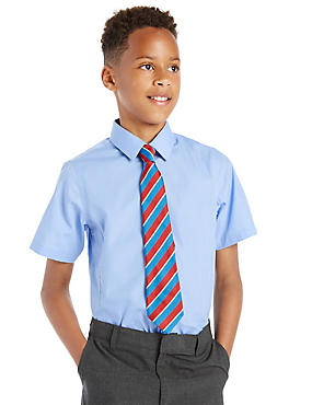 Slim Fit 2 Pack Boys' Ultimate Non-Iron Short Sleeve Shirts with Stain Away™