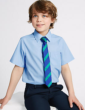 2 Pack Boys' Non-Iron Shirts, BLUE, catlanding
