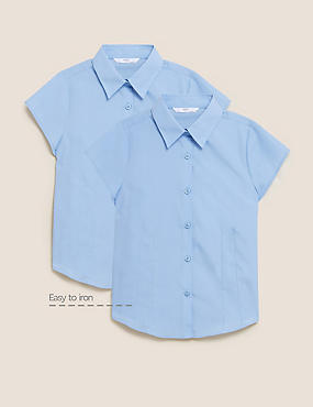 2 Pack Girls' Easy to Iron Cap Sleeve Blouses