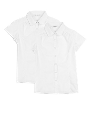 2 Pack Girls' Pure Cotton Easy to Iron Short Sleeve Blouses Clothing