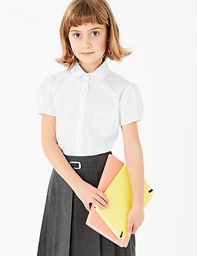 2 Pack Girls' Embroidered Blouses, WHITE, catlanding