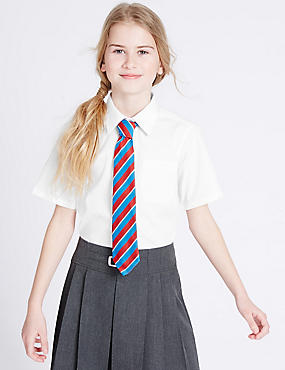 2 Pack Girls' Longer Length Blouses, WHITE, catlanding