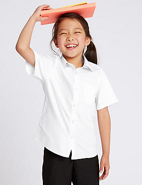 2 Pack Girls' Slim Fit Non Iron Blouses, WHITE, catlanding