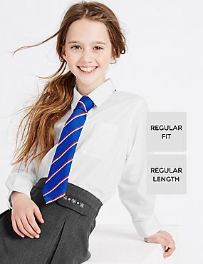 2 Pack Girls' Ultimate Non-Iron Blouses, WHITE, catlanding