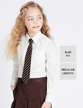 2 Pack Girls' Ultimate Non-Iron Shirt, WHITE, catlanding