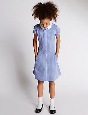 Girls' Pure Cotton Non-Iron Gingham Checked Dress