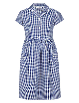 Girls' Pure Cotton Easy to Iron Gingham School Dress Clothing