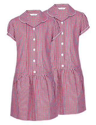 2 Pack Easy to Iron Gingham Dresses Clothing