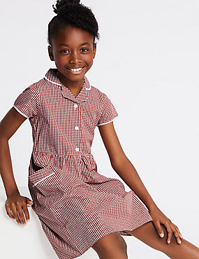 Girls' Skin Kind™ Gingham Dress, RED, catlanding