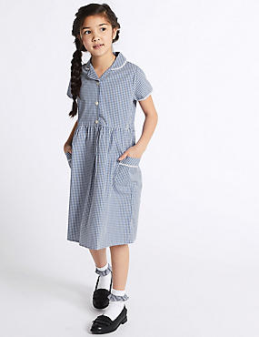 Girls' Skin Kind™ Gingham Dress, BLUE, catlanding