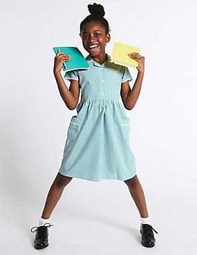 Girls' Skin Kind™ Gingham Dress, GREEN, catlanding