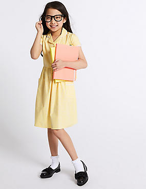 Gingham Pure Cotton Skin Kind™ Dress, YELLOW, catlanding