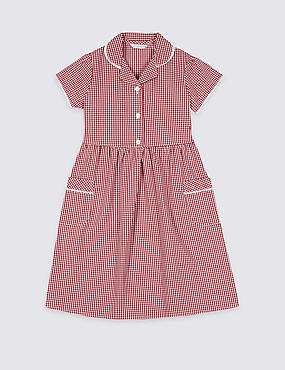 Girls' Plus Fit Gingham Pure Cotton Dress, RED, catlanding