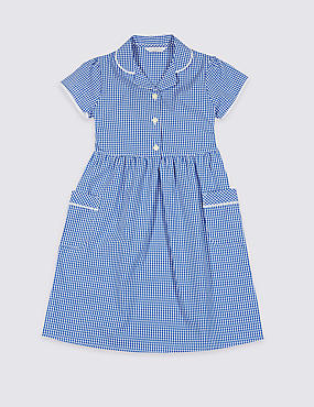 Girls' Plus Fit Gingham Pure Cotton Dress, BLUE, catlanding