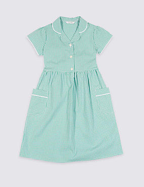 Girls' Plus Fit Gingham Pure Cotton Dress, GREEN, catlanding