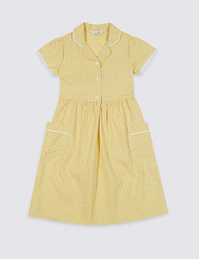 Girls' Plus Fit Gingham Pure Cotton Dress, YELLOW, catlanding