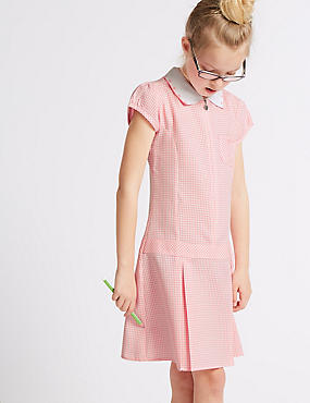 Girls' Gingham Pleated Dress, PINK, catlanding