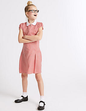 Girls' Gingham Pleated Dress, RED, catlanding