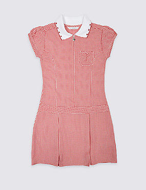 Pleated Summer Gingham Check Dress