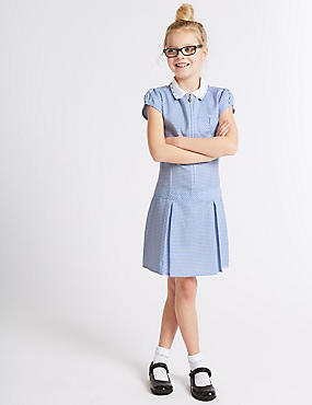 Girls' Gingham Pleated Dress, BLUE, catlanding