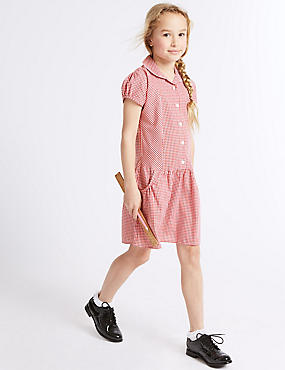 2 Pack Girls' Easy to Iron Checked Dress