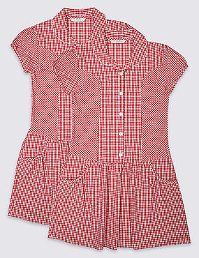 2 Pack Girls' Easy to Iron Summer Gingham Check Dress