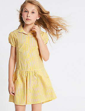 2 Pack Checked Dress (2-14 Years), YELLOW, catlanding