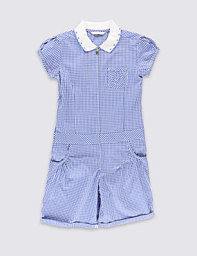 Girls' Pure Cotton Gingham Playsuit
