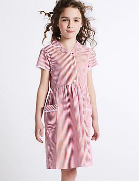 Girls' Pure Cotton Striped Dress, PINK, catlanding