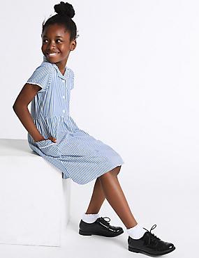 Girls' Pure Cotton Striped Dress, BLUE, catlanding