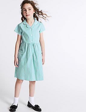 Girls' Pure Cotton Striped Dress, GREEN, catlanding