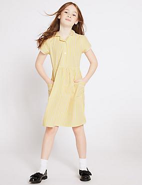 Girls' Pure Cotton Striped Dress, YELLOW, catlanding